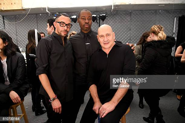 Makeup artist Ramiro Jennings Ted Gibson and designer Carmen Marc Valvo backstage at Carmen Marc Valvo F/W 2016 at The Arc Skylight at Moynihan...