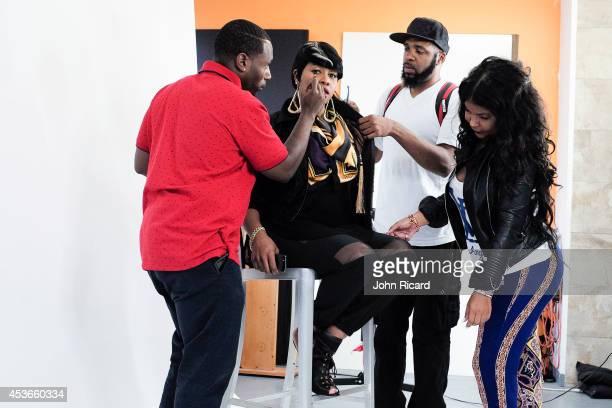 Makeup artist Terrance Welcher Rapper Remy Ma hairstylist Terrence Davidson fashion stylist Misa HyltonBrim at the John Ricard Studio on August 15...