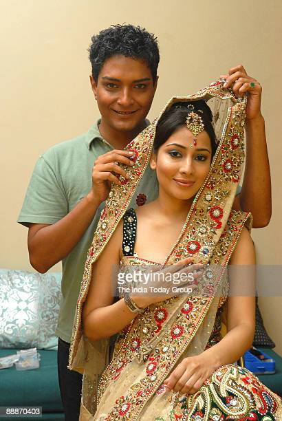 Makeup artist Venkatesh Kumar Iyer and model Ashia Aziz at his Residence in Mumbai Maharashtra India