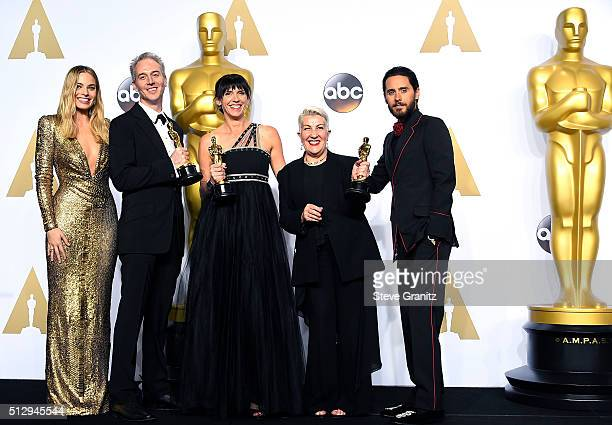 Makeup artists Damian Martin Elka Wardega and Lesley Vanderwalt winners of the Best Makeup and Hairstyling award for 'Mad Max Fury Road' pose with...