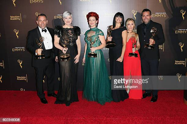 Makeup artists from American Horror Story Hotel winners of Outstanding Makeup For A Limited Series Or Movie attend the 2016 Creative Arts Emmy Awards...