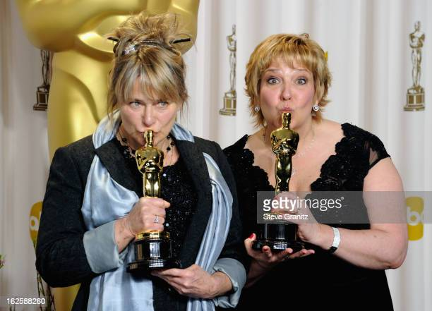 Makeup Artists Lisa Westcott and Julie Dartnell pose in the press room during the Oscars at the Loews Hollywood Hotel on February 24, 2013 in...