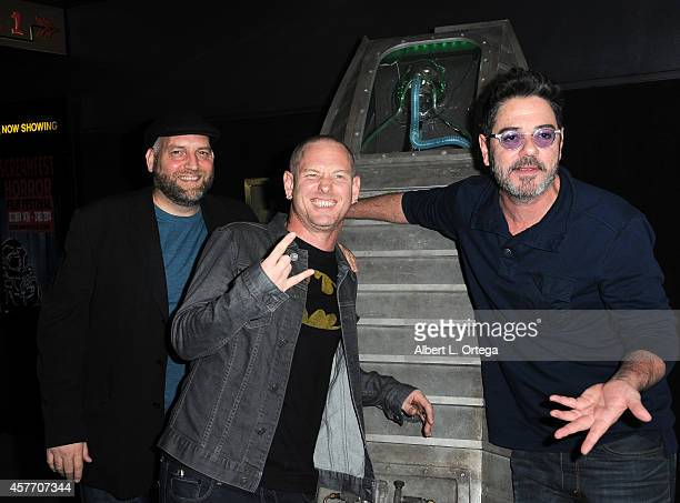 Makeup artists Steve Johnson and Robert Kurtzman with actor Corey Taylor at the Fear Clinic Premiere Screening And QA as part of 2014 ScreamFest held...