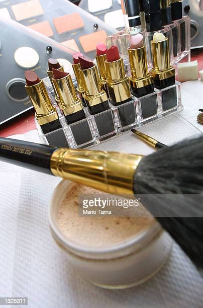 A makeup artist''s supplies sit ready at a free makeover promotional giveaway for customers at Cosmetics Plus July 11 2001 in New York City