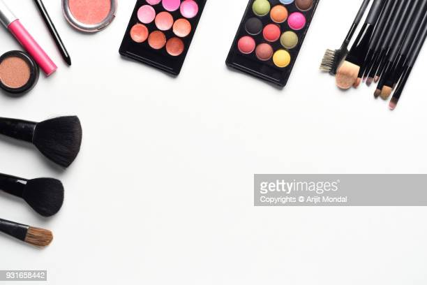 Makeup Artists Work Place Top View of Makeup Products With White Background Copy Area Flat Lay
