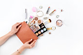 Makeup bag with cosmetic beauty products