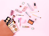 Makeup bag with cosmetic products