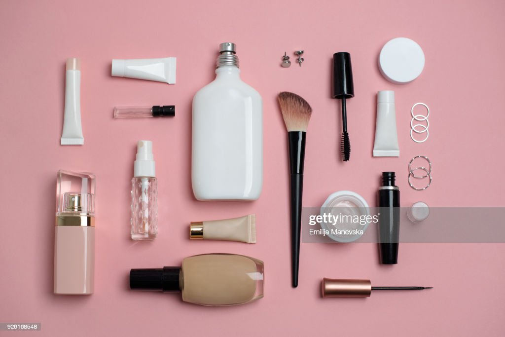 Makeup Bag with variety of beauty products : Stock Photo