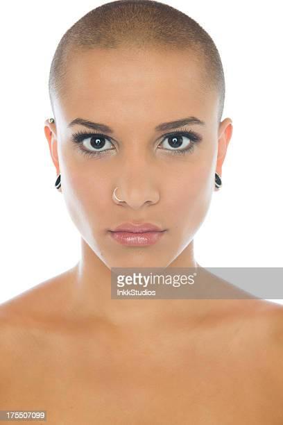 makeup beauty - helemaal kaal stockfoto's en -beelden