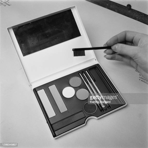 Make-up box by Mary Quant, including blusher,eye shadow and a selection of brushes, UK, 19th September 1966.
