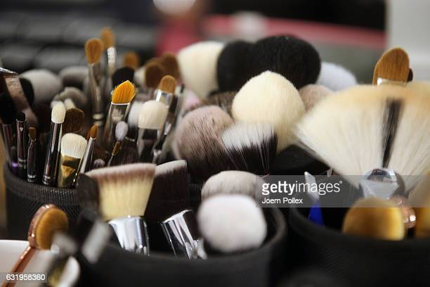 Makeup brushes are seen backstage ahead of the Leonie Mergen show during the MercedesBenz Fashion Week Berlin A/W 2017 at Kaufhaus Jandorf on January...