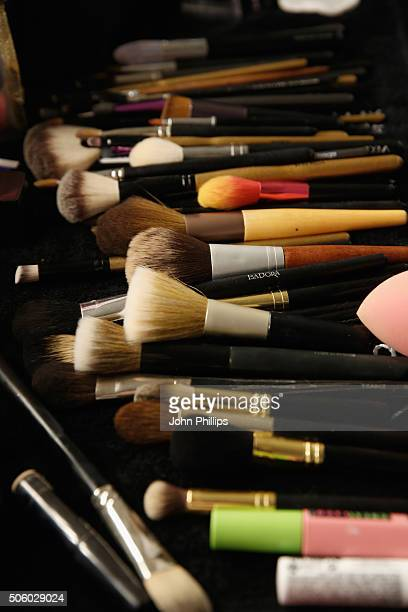 MakeUp brushes are seen backstage ahead of the Philomena Zanetti show during the MercedesBenz Fashion Week Berlin Autumn/Winter 2016 at Stage at me...