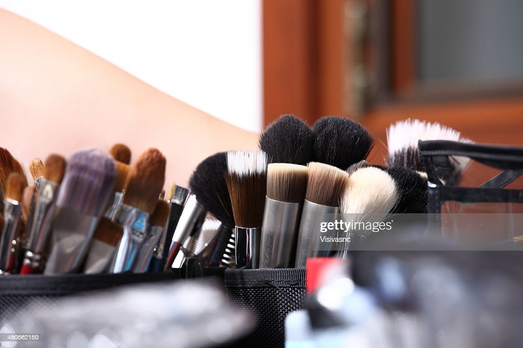 makeup brushes, closeup : Stock Photo