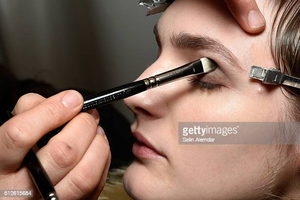 Makeup detail backstage ahead of the Blumarine show during Milan Fashion Week Fall/Winter 2016/17 on February 27 2016 in Milan Italy