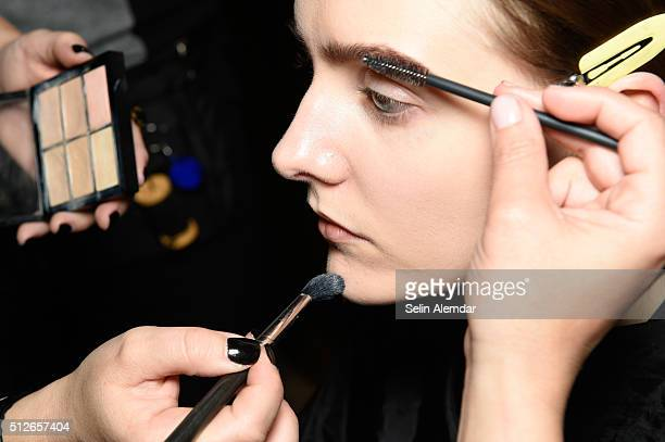 Makeup details backstage ahead of the Gabriele Colangelo show during Milan Fashion Week Fall/Winter 2016/17 on February 27 2016 in Milan Italy