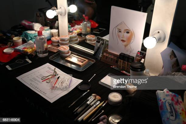 Makeup is seen backstage ahead of the Albus Lumen show at MercedesBenz Fashion Week Resort 18 Collections at La Porte Deux on May 15 2017 in Sydney...