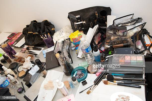 Make-up is seen backstage ahead of the Saint Wobil - Darius Wobil Spring 2012 fashion show during Mercedes-Benz Fashion Week at Studio 450 on...