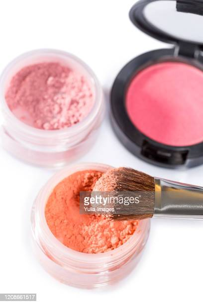 makeup powders and compact on white background - mineral bildbanksfoton och bilder