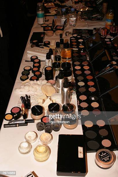 Makeup sits on a table backstage at the Jeffrey Chow Fall 2004 during Olympus Fashion Week February 12 2004 in New York City