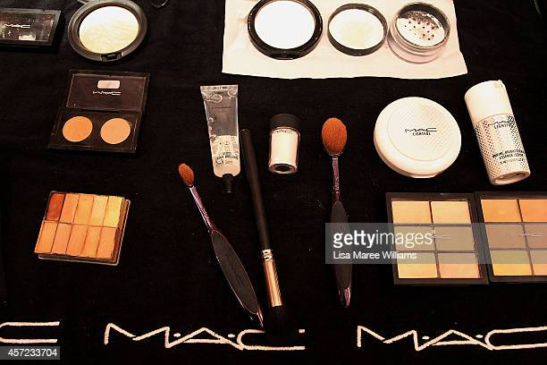 A makeup station as seen backstage ahead of the LAMARCK show as part of Mercedes Benz Fashion Week TOKYO 2015 S/S at RISTORANTE ASO on October 15...