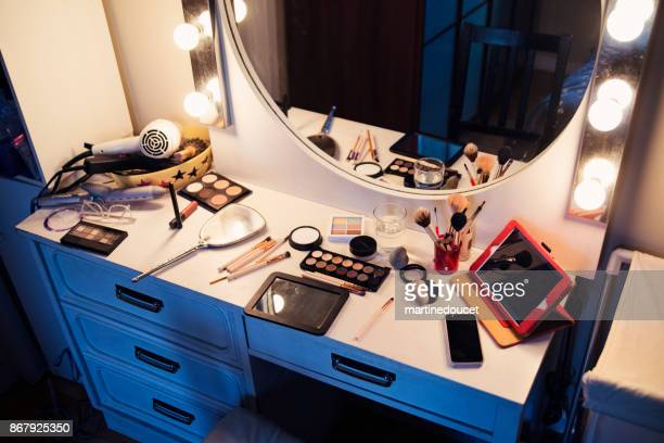 """make-up table with mirror and a digital tablet. - """"martine doucet"""" or martinedoucet stock pictures, royalty-free photos & images"""