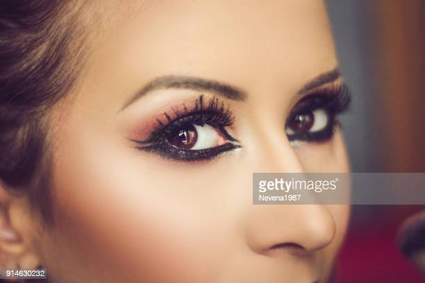 makeup,smokey eyes - false eyelash stock pictures, royalty-free photos & images