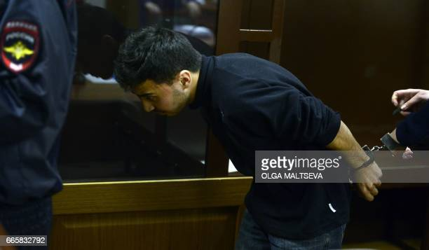 Makhamadyusuf Mirzaalimov suspected of involvement in the Saint Petersburg metro bombing attends a hearing on his detention at Saint Petersburg's...