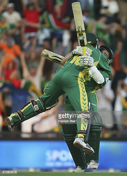 Makhaya Ntini and Mark Boucher of South Africa celebrate the winning runs during the fifth One Day International between South Africa and Australia...
