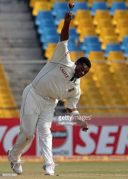 Makhaya Ntini bowls during Day 3 of the second test match between India and South Africa held at Sardar Patel Gujarat Stadium on April 5 2008 in...