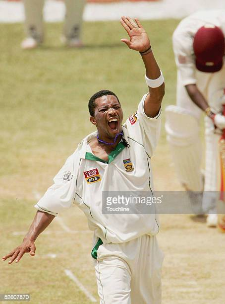 Makhaya Ntini of South Africa appeals for LBW against Darren Powell of West Indies during the second day of the second test April 9, 2005 in Port of...