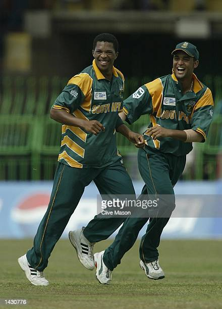 Makhaya Ntini of South Africa celebrates after dismissing Sourav Ganguly of India during the ICC Champions Trophy semi final match between India and...