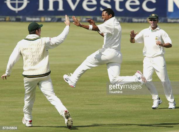 Makhaya Ntini of South Africa celebrates the wicket of Scott Styris during day two of the first Test between South Africa and New Zealand at...