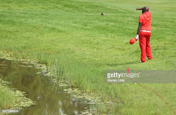 Makhetha Mazibuko of South Africa takes a drop on the 4th during Day One of The Tshwane Open at Pretoria Country Club on March 2 2017 in Pretoria...