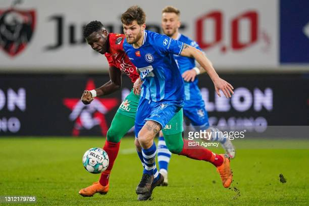 Makhtar Gueye of KV Oostende and Dino Arslanagic of KAA Gent during the Jupiler Pro League match between KAA Gent and KV Oostende at Ghelamco Arena...