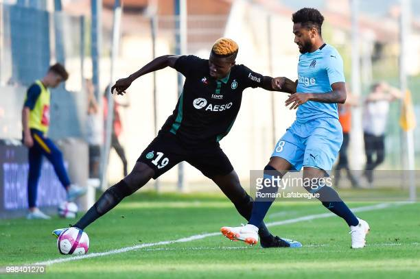 Makhtar Gueye of Saint Etienne and Jordan Amavi of Marseille during the Friendly match between Marseille and Saint Etienne on July 13 2018 in...