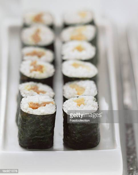Maki sushi with salmon and peppers