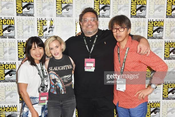 Maki TerashimaFuruta Teri Whalgren Jason Demarco and Mitsuhisa Ishikawa attend Adult Swim's 'FLCL ' Press Line during ComicCon International 2018 at...
