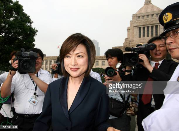 Makiko Fujino a newly elected House of Representatives member arrives at Parliament for her first session September 21 2005 in Tokyo Japan A special...