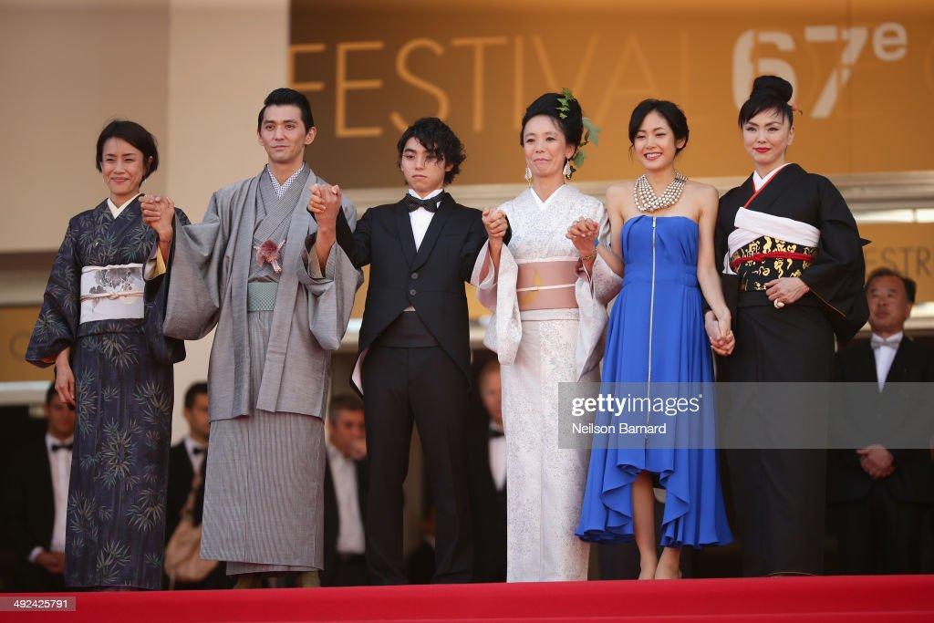 Makiko Watanabe, Jun Murakami, Nijiro Murakami, Naomi Kawase, Jun Yoshinaga and Miyuki Matsuda attends the 'Futatsume No Mado' premiere during the 67th Annual Cannes Film Festival on May 20, 2014 in Cannes, France.