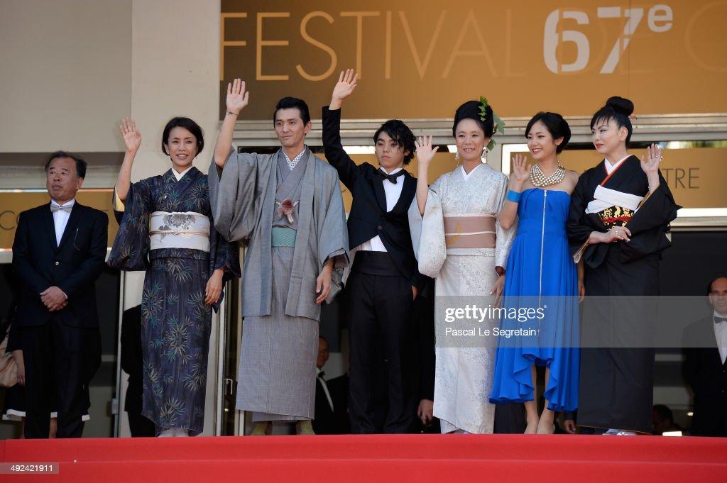 Makiko Watanabe, Jun Murakami, Nijiro Murakami, Nijiro Murakami, Jun Yoshinaga and Miyuki Matsuda attends the 'Futatsume No Mado' premiere during the 67th Annual Cannes Film Festival on May 20, 2014 in Cannes, France.