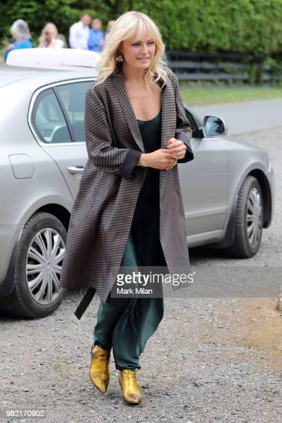 Makin Akerman arriving at Rayne Church in Kirkton on Rayne for the wedding of Kit Harrington and Rose Leslie on June 23 2018 in Aberdeen Scotland
