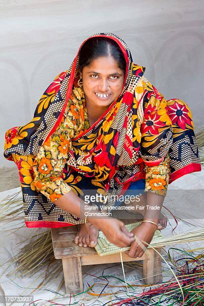 making a basket - bangladeshi woman stock photos and pictures