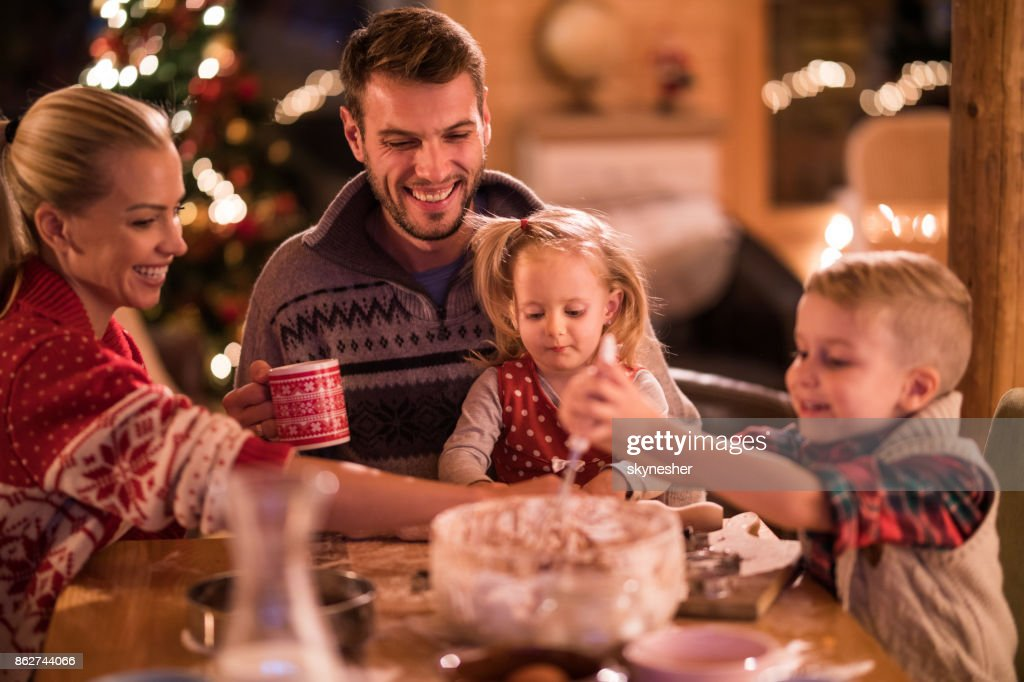 Making a cake on New Year's Eve! : Stock Photo