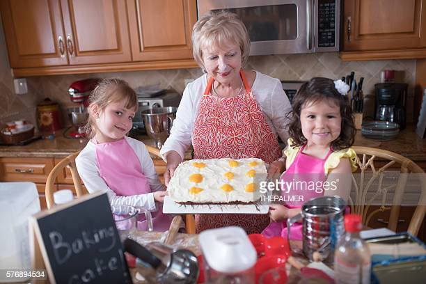 Making a cake with our grandmother