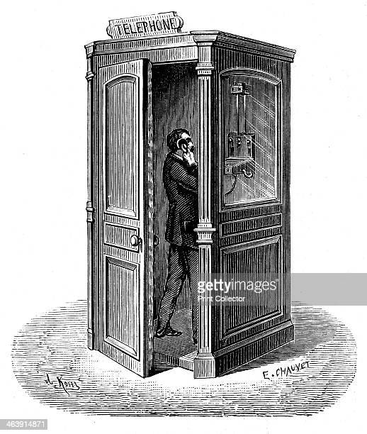Making a call from a telephone call box 1888 From Le Journal de la Jeunesse