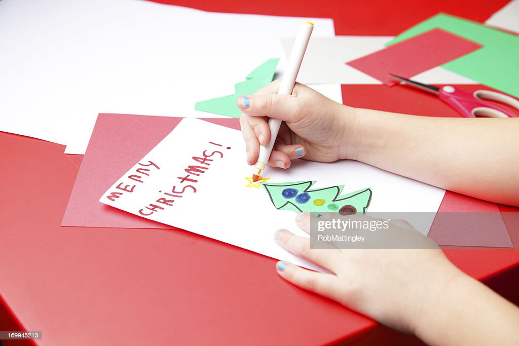 Making A Christmas Card Stock Photo   Getty Images