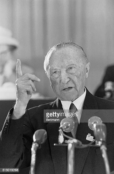 Making a Point. Dortmund, West Germany: Pointing a finger, Chancellor Konrad Adenauer addresses the eleventh annual convention of his Christian...