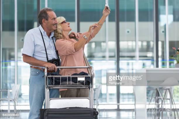 Making a selfie before departure on air trip.