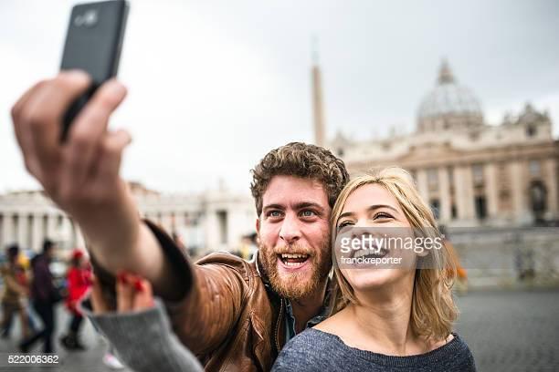 making a selfie in Rome