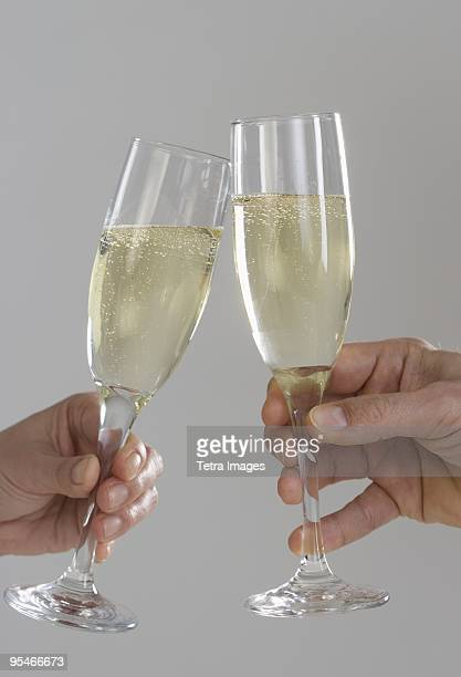 Making a toast with champagne
